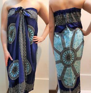 Mumu Sarong Mandala Batik Tube Dress Bali Boho Hippy Beach Sz S M L XL 10-22