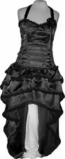 Black Bustle Skirt Dress Steampunk Burlesque Reenactment Victorian Plus Rose USA