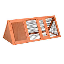 "PawHut 47"" Rabbit Hutch Triangle Bunny Cage Pet Wooden House Animal Habitat Run"