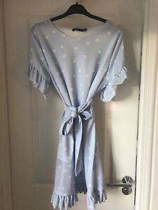 NEW WITH TAGS I SAW IT FIRST Blue And White Polka Dot Tea Dress Size 12