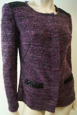 ESCADA SPORT Purple Textured Black Sequin Formal Blazer Jacket Sz36 UK8 BNWT