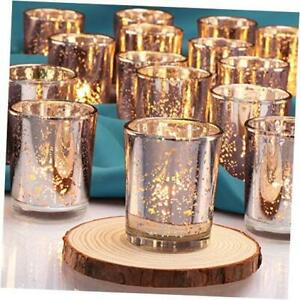 Votive Candle Holders(24pcs) | Wedding Decorations for Table Silver