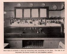 1906 MAGAZINE PRINT PHOTO  KITCHEN VIEW  SOAPSTONE SINK UTENSILS POTS BEATERS