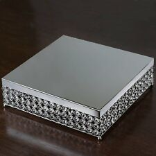 """16"""" Bejeweled Silver Square Crystal Beaded Wedding Birthday Party Cake Stand"""