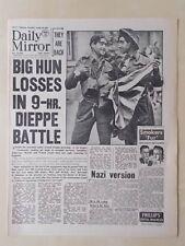DAILY MIRROR WWII NEWSPAPER AUGUST 20th 1942 COMMANDO RAID ON DIEPPE