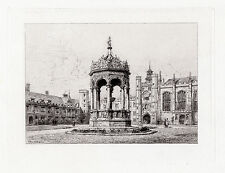 "BRUNET DEBAINES Original 1800s Etching ""Court of Trinity College"" SIGNED COA"
