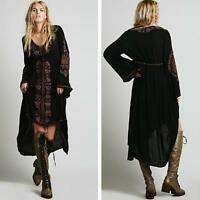 women Vintage Ethnic Flower Embroidery Cotton Linen Tunic Long Dress Boho Hippie