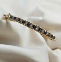 6 Ct Ladies 14k yellow gold Over blue sapphire & diamond bangle bracelet