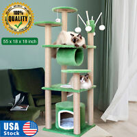 """USA 55"""" Cat Tree Tower Activity Center Large Playing House Condo For Rest Green"""