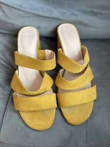 M&S Insolia Mustard Yellow Strappy Mules Size 8