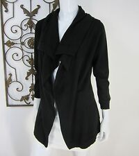 THEORY LONG SLEEVE OPEN FRONT WOOL CARDIGAN SWEATER SIZE S SMALL SOLID BLACK