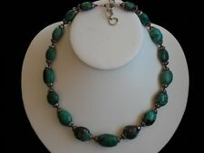 """Vintage Turquoise, Red Coral & Sterling Silver Handmade Collectible Necklace 20"""""""