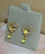 Gadi 18K Peridot Diamond Briollete Shield Dangle Earrings Screw Back New $2,040.