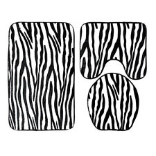 3pcs Zebra Stripe Print Bathroom Rug Commode Mat Toilet Lid Cover Bathmats