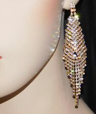 GOLD WITH CLEAR RHINESTONE CRYSTAL BRIDAL Chandelier EARRINGS