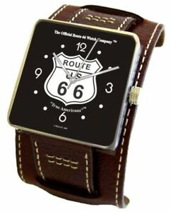 """""""The Official Route 66 True Americana"""" Stainless Steel Watch -Leather Cuff Strap"""