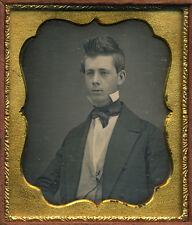 1840s Daguerreotype Portrait of Handsome Young Gentleman with Swept Hair