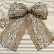 Burlap and Lace Pew Bow Vintage Chic Wedding Rustic Reception Wreath