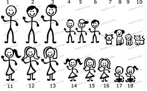 Stick Figure Family Window Vinyl Stickers Pick your own family 99p each figure.