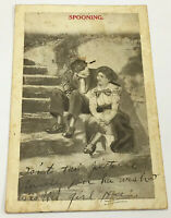 Spooning Couple Romance 1912 Postcard Antique Vintage
