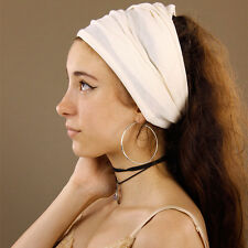 Versatile Cream Seamless Stretchy Tube Headband Extra Wide Boho Hippy Dreadlocks