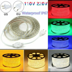 110V 220V 5050 LED SMD Outdoor Waterproof Flexible Tape Rope Strip Light 1-20M