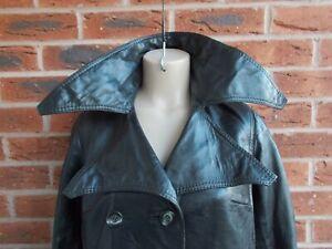 Vintage 70s Long Black Leather Trench Coat * 10 uk * GOTH * FETISH * DOMINATRIX