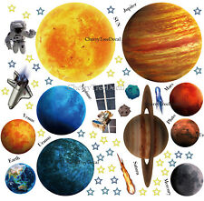 Space Solar System Planets Wall Stickers Mural Decal Astronaut Rocket Art Decor