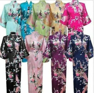 Frau Pfau Kimono Lang Robe Morgenmantel Nachtwäsche Satin Bademantel Negligee