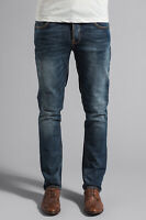 Nudie Herren Slim Fit Used Look Stretch Jeans Hose | Grim Tim Teal Blue