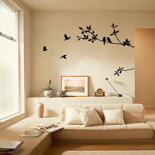 Black Bird Tree Branch Removable Vinyl Wall Sticker Art Home Decor Decal W8S