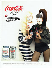 Publicité Advertising 127  2012   Coca Cola Light  soda Jean -Paul Gaulthier *