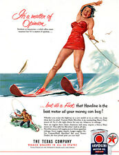 Girl Water Skiing in Red Bathing Suit TEXACO HAVOLINE Water Sports 1953 Print Ad