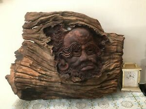 Primitive Wood Hand-Carved Arhat Buddha Figural Wall From Ancient Roots Excell