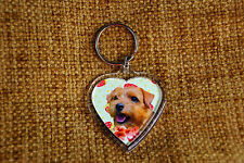 Norfolk Terrier Gift Keyring Dog Key Ring heart shaped gift Valentine