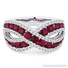 Band Right-Hand Ring in 18k White Gold 1.97ct Round Cut Red Ruby & Diamond Pave