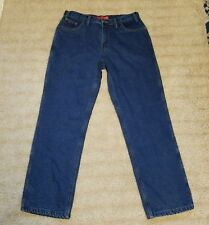 Berne Ladies Red Flannel Lined Straight Leg High Waist Jeans Womens 14 32 Inseam