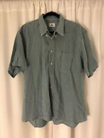 Men's Lacoste Blue Green Check Gingham Button Front Shirt Size 44 U.S XL Cotton