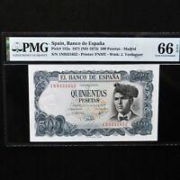 Spain 1971 (ND 1973) 500 Pesetas, Pick # 153a, PMG 66 EPQ Gem Unc