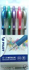 Pilot G2 set of 5 retractable metallic roller ball gel pens pink blue silver G&P