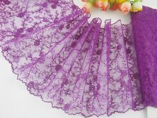 "6.5""*1yard delicate purple embroidered flower tulle lace trim DIY 0392"