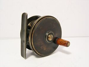 "Vintage Antique 2¼"" Brass Platewind Fly Fishing Reel"