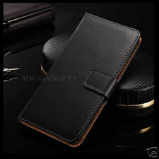 Genuine Real Leather Slim Wallet Flip Stand Case Cover for Samsung Galaxy J2 Black
