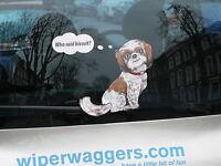 SHI SHI SHIH TZU DOG LOVER CAR STICKER NOVELTY GIFT COLLECTABLE WITH WIPER WAGGI