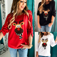 ❤️ Women's Christmas Elk Printed T-Shirt Tops Casual Sweatshirt Pullover Blouse