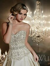 NWT Christina Wu 15538 Size 10 Formal bridal gown with detachable train, gold