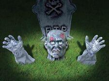Interruptor de tierra Zombie Halloween Decoración de jardín colgante de cabeza 2 manos