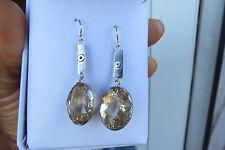 New Handmade custom Huge 21+carat Natural Morganite Platinum & SS drop earrings