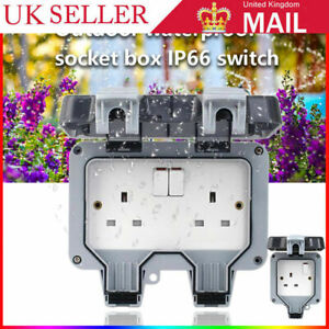 Waterproof Outdoor Double Pole Switched Socket Box Electrical External Safe Plug