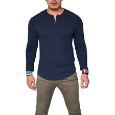 Mens Henley Shirt T-shirt Long Sleeve Cotton Pullover Comfy Button Solid Tops